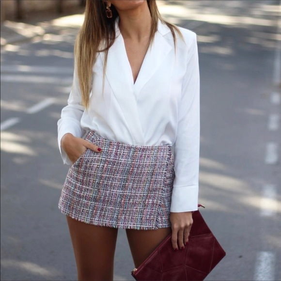Zara Pants - Zara tweed wrapped skort multi size medium